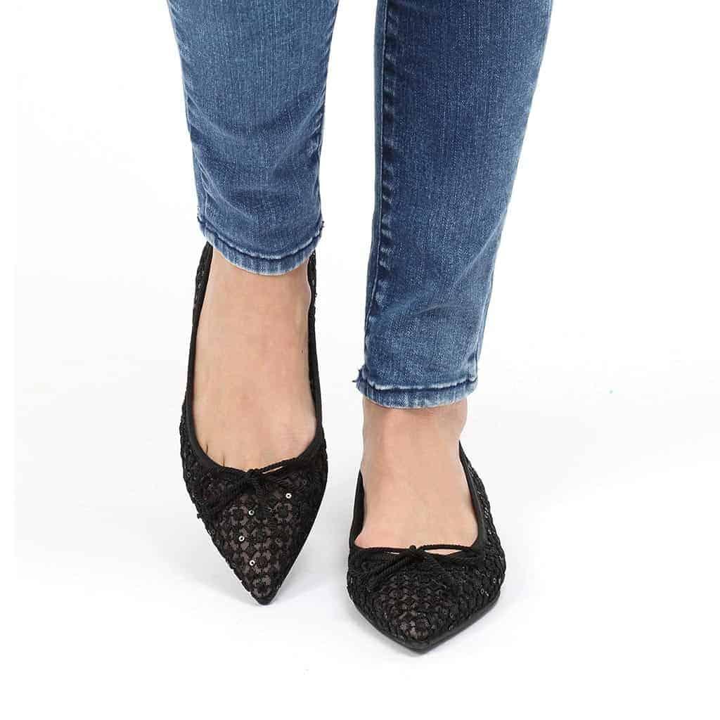 Black Lace שחור נעלי בובה נעלי בלרינה נעליים שטוחות נעליים נוחות ballerinas