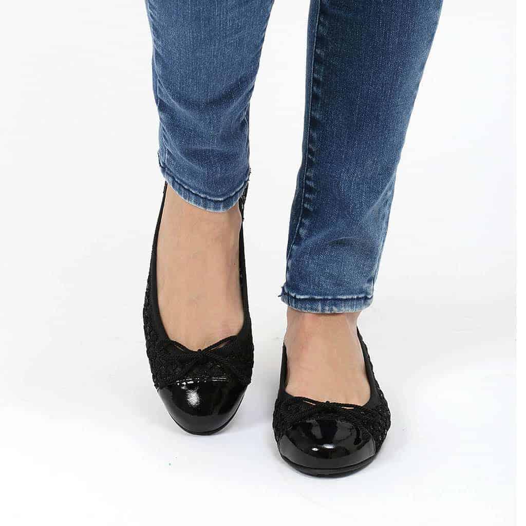 Black Sweet|שחור|נעלי בובה|נעלי בלרינה|נעליים שטוחות|נעליים נוחות|ballerinas