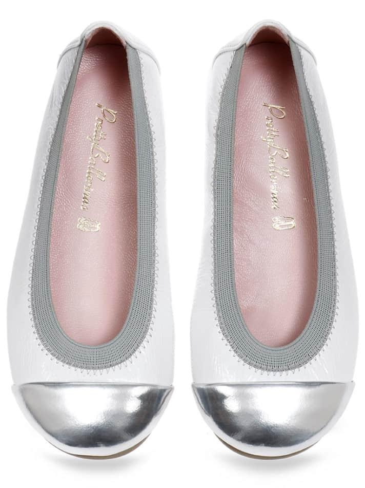 Silver Princess|כסף|לבן|ילדות| בלרינה|נעלי בלרינה לילדות|נעלי בלרינה